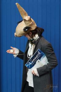 Storyteller dressed as the March Hare