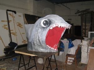 Our shark getting ready to bite in the workshop